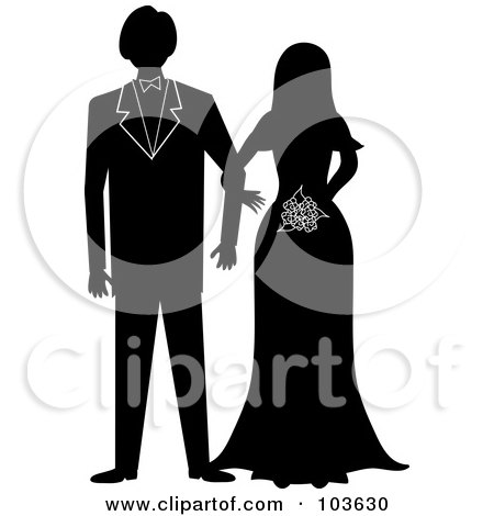 Royalty-Free (RF) Clipart Illustration of a Silhouetted Bride And Groom Standing Arm In Arm by Pams Clipart