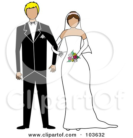 Royalty-Free (RF) Clipart Illustration of a Brunette Bride And Blond Groom Standing Arm In Arm by Pams Clipart