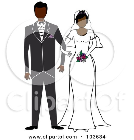 Royalty-Free (RF) Clipart Illustration of an African American Bride And Groom Standing Arm In Arm by Pams Clipart