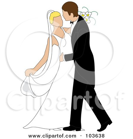 Royalty-Free (RF) Clipart Illustration of a Caucasian Newlywed Couple Dancing At Their Wedding by Pams Clipart