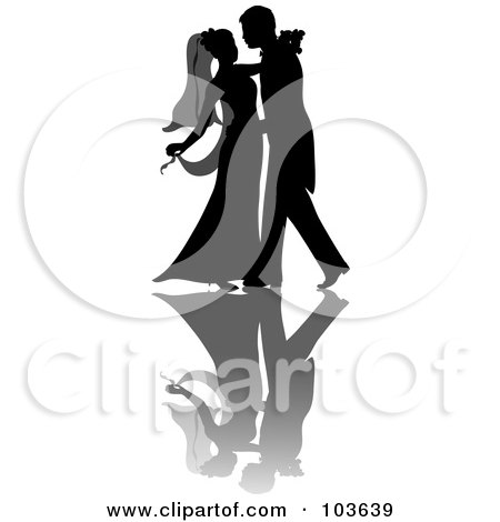 Royalty-Free (RF) Clipart Illustration of a Silhouetted Couple Dancing At Their Wedding by Pams Clipart