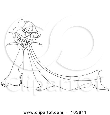 Royalty-Free (RF) Clipart Illustration of an Abstract Outlined Embracing Bride And Groom With A Calla Lily Bouquet by Pams Clipart