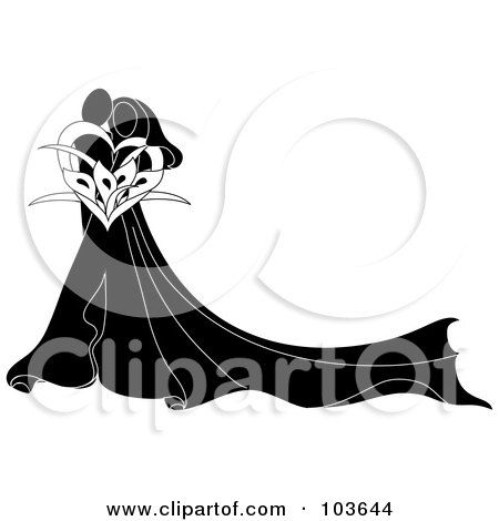 Royalty-Free (RF) Clipart Illustration of an Abstract Black And White Embracing Bride And Groom With A Calla Lily Bouquet by Pams Clipart