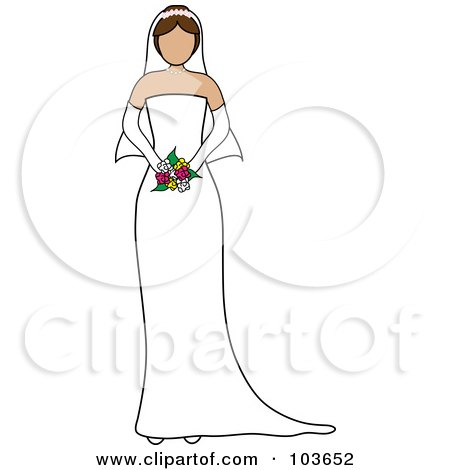 Royalty-Free (RF) Clipart Illustration of a Faceless Brunette Bride Holding Her Bouquet by Pams Clipart