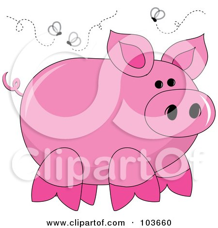 Royalty-Free (RF) Clipart Illustration of a Stinky Pink Piggy Surrounded By Flies by Pams Clipart