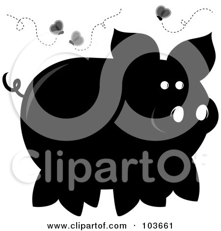 Royalty-Free (RF) Clipart Illustration of a Silhouetted Stinky Piggy Surrounded By Flies by Pams Clipart