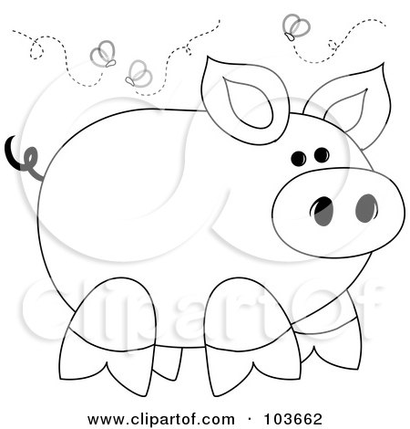 Coloring page outline of a stinky piggy surrounded by flies