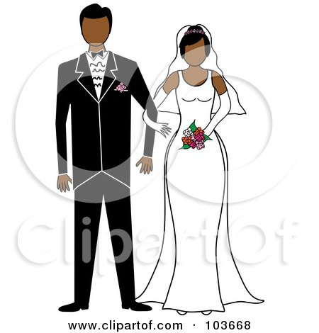 Royalty-Free (RF) Clipart Illustration of a Hispanic Bride And Groom Standing Arm In Arm by Pams Clipart
