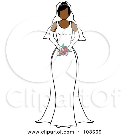Royalty-Free (RF) Clipart Illustration of a Faceless Hispanic Bride Holding Her Bouquet by Pams Clipart