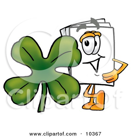 Clipart Picture of a Paper Mascot Cartoon Character With a Green Four Leaf Clover on St Paddy's or St Patricks Day by Toons4Biz
