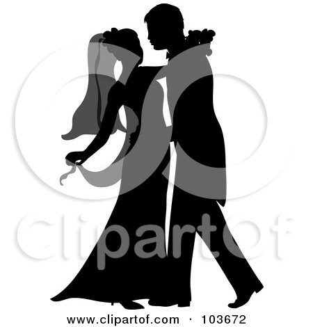Royalty-Free (RF) Clipart Illustration of a Silhouetted Newlywed Couple Dancing At Their Wedding by Pams Clipart