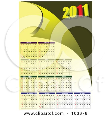 2011 calendar monthly. Green 2011 Monthly Calendar