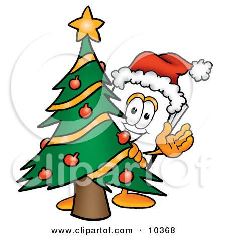 Clipart Picture of a Paper Mascot Cartoon Character Waving and Standing by a Decorated Christmas Tree by Toons4Biz