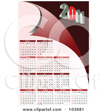 2011 calendar red. Pink And Red 2011 Calendar Poster, Art Print