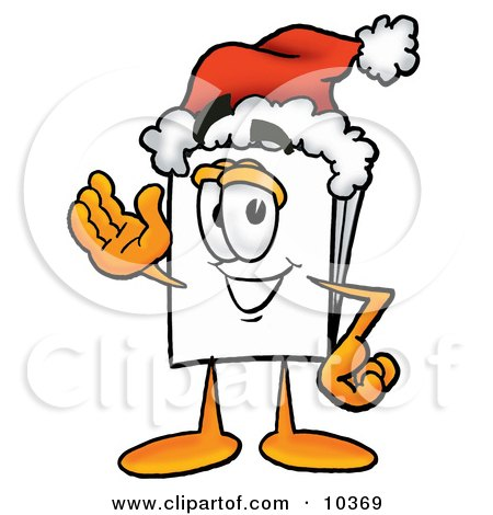 Clipart Picture of a Paper Mascot Cartoon Character Wearing a Santa Hat and Waving by Toons4Biz