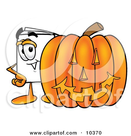 Clipart Picture of a Paper Mascot Cartoon Character With a Carved Halloween Pumpkin by Toons4Biz