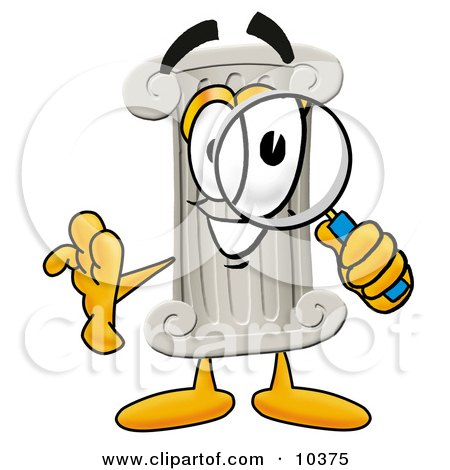 Clipart Picture of a Pillar Mascot Cartoon Character Looking Through a Magnifying Glass by Toons4Biz