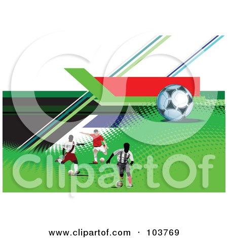 Royalty-Free (RF) Clipart Illustration of Three Soccer Players And A Ball On Halftone And Colorful Lines by leonid