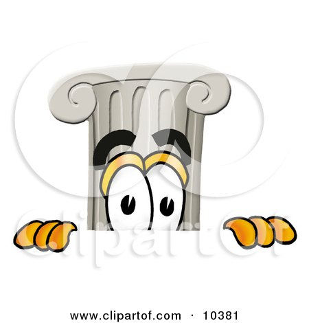 Clipart Picture of a Pillar Mascot Cartoon Character Peeking Over a Surface by Toons4Biz