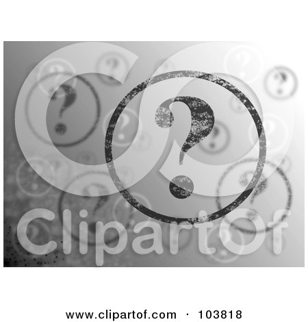 Royalty-Free (RF) Clipart Illustration of a Grayscale Background Of Floating Question Mark Bubbles by oboy