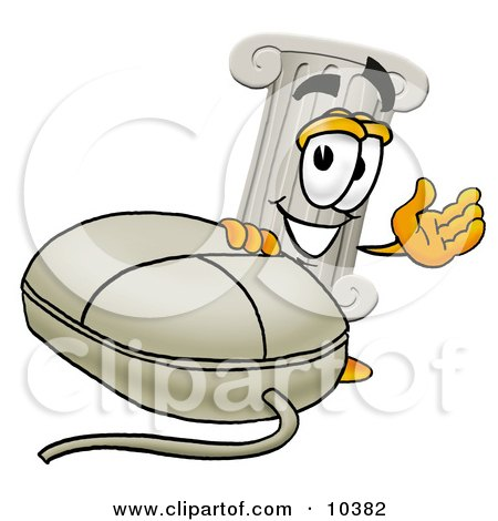 Clipart Picture of a Pillar Mascot Cartoon Character With a Computer Mouse by Toons4Biz