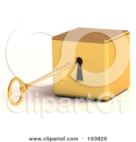 Royalty-Free (RF) Clipart Illustration of a 3d Gold Skeleton Key Preparing To Unlock A Block by Tonis Pan