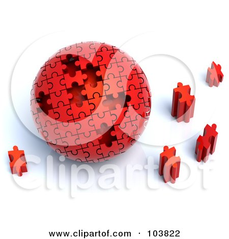 Royalty-Free (RF) Clipart Illustration of a 3d Red Puzzle Ball With Pieces Scattered Around It by Tonis Pan