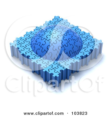 Royalty-Free (RF) Clipart Illustration of a 3d Dome Made Of Puzzle Pieces by Tonis Pan