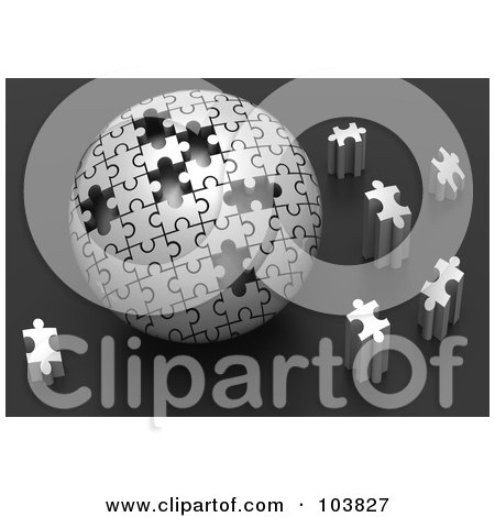 Royalty-Free (RF) Clipart Illustration of a 3d Silver Puzzle Ball With Pieces Scattered Around It by Tonis Pan