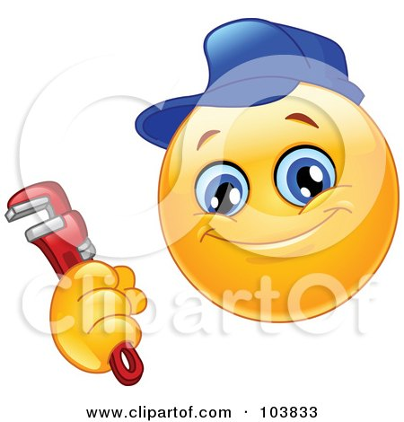 Royalty-Free (RF) Clipart Illustration of a Yellow Smiley Plumber Holding A Monkey Wrench by yayayoyo
