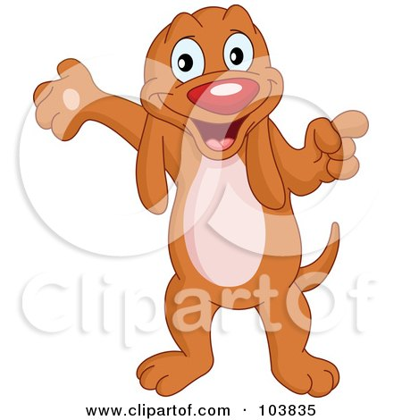 Royalty-Free (RF) Clipart Illustration of a Cute Hound Dog Standing, Pointing And Presenting With One Paw by yayayoyo