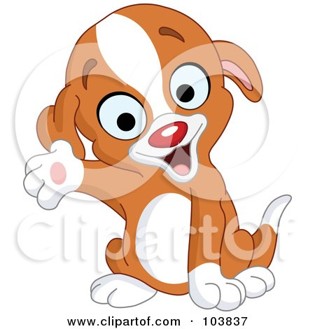Royalty-Free (RF) Clipart Illustration of a Cute Puppy Smiling And Presenting With One Paw by yayayoyo