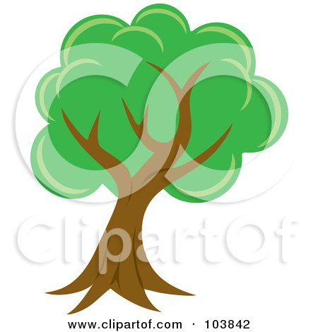 Royalty-Free (RF) Clipart Illustration of a Lush Mature Tree With Green Foliage And A Curved Trunk by Rosie Piter