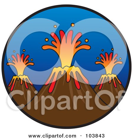 Royalty-Free (RF) Clipart Illustration of a Trio Of Erupting Volcanoes With Lava In A Circle by Rosie Piter