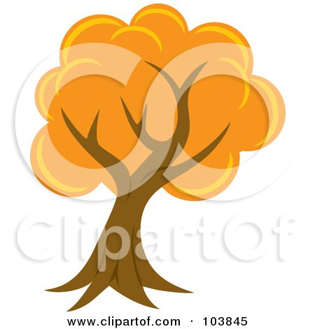 Royalty-Free (RF) Clipart Illustration of a Lush Mature Tree With Orange Foliage And A Curved Trunk by Rosie Piter