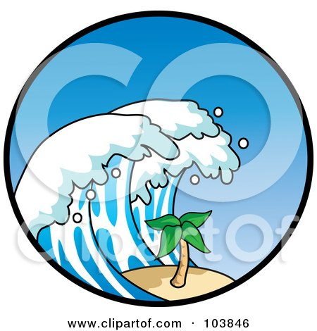 Royalty-Free (RF) Clipart Illustration of a Tsunami Wave Towering Over A Palm Tree In A Circle by Rosie Piter