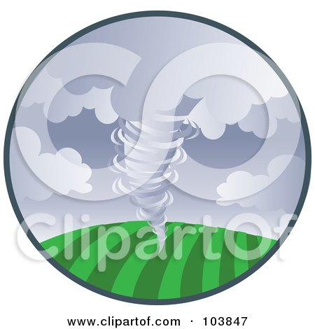 Royalty-Free (RF) Clipart Illustration of a Tornado Sweeping Across Farm Land In A Circle by Rosie Piter