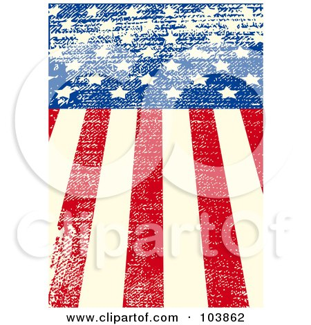 Royalty-Free (RF) Clipart Illustration of a Grungy American Flag Background With Distressed Lines by Pushkin