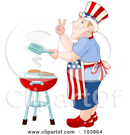 Royalty-Free (RF) Clipart Illustration of a Patriotic Caucasian American Man Cooking On A Barbecue by Pushkin