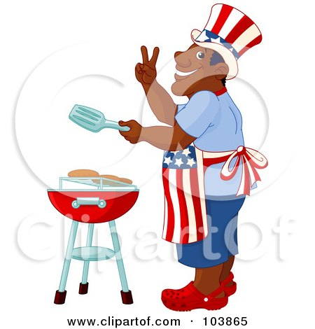Royalty-Free (RF) Clipart Illustration of a Patriotic African American Man Cooking On A Barbecue by Pushkin