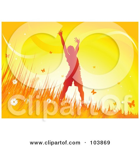 Royalty-Free (RF) Clipart Illustration of a Happy Silhouetted Boy Holding His Arms Up And Standing In Grass, Surrounded By Butterflies At Sunset by Pushkin