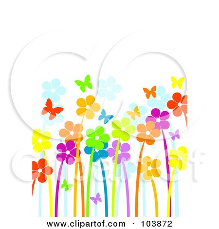 Royalty-Free (RF) Clipart Illustration of a Garden Of Vibrant Flowers And Butterflies by Pushkin