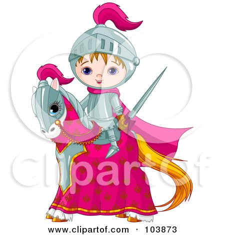 Royalty-Free (RF) Clipart Illustration of a Cute Medieval Knight Boy On His Steed by Pushkin