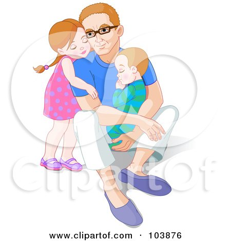 Royalty-Free (RF) Clipart Illustration of a Little Girl Hugging Her Dad From Behind As He Holds Her Little Brother by Pushkin