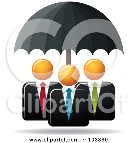 Royalty-Free (RF) Clipart Illustration of a Black Umbrella Providing Protection For Three Orange Faceless Businessmen by Qiun