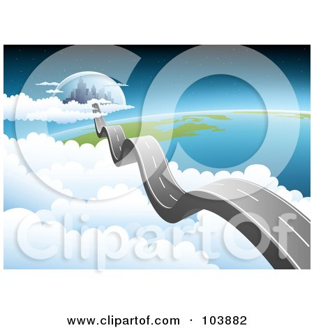 Royalty-Free (RF) Clipart Illustration of a Bumpy Road Leading To A City In The Sky Above Earth by Qiun