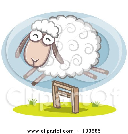 Royalty-Free (RF) Clipart Illustration of a Wooly Sheep Jumping Over A Hurdle
