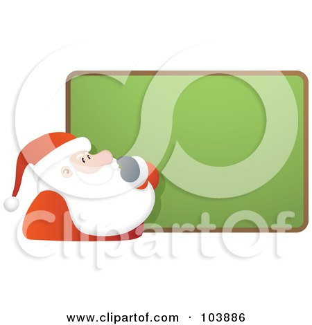 Royalty-Free (RF) Clipart Illustration of Santa Rubbing His Beard And Staring At A Blank Board by Qiun