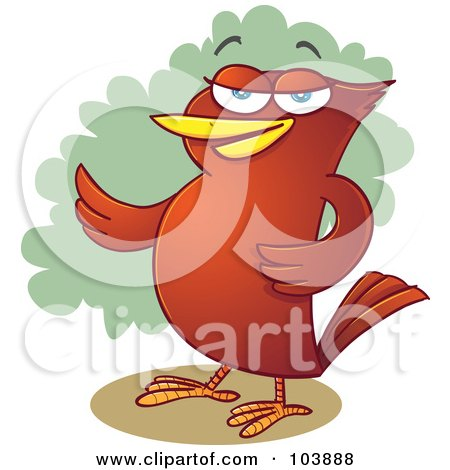 Royalty-Free (RF) Clipart Illustration of a Red Bird Presenting With A Wing by Qiun