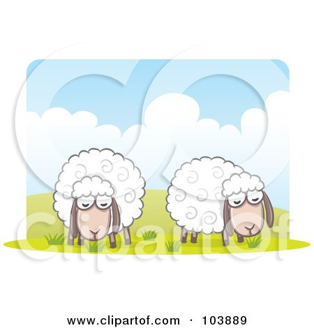 Royalty-Free (RF) Clipart Illustration of a Pair Of Wooly Sheep Grazing by Qiun